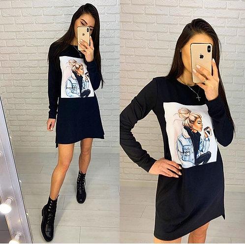Sarışın Kız Baskılı Tunik Elbise - Siyah