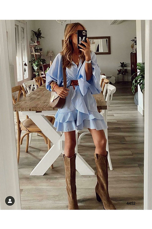 Çizgili Kemerli Salaş Elbise - Mavi
