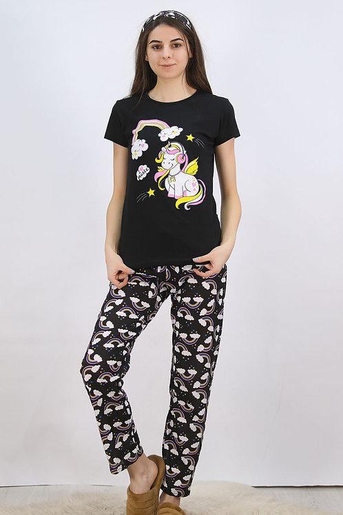 Baskılı Pijama Takımı Siyah