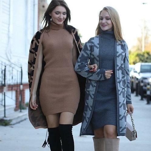 Kazayağı Triko Hırka + Elbise Kombin - Vizon