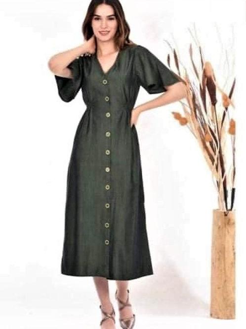 Düğmeli Uzun Keten Elbise - Yeşil