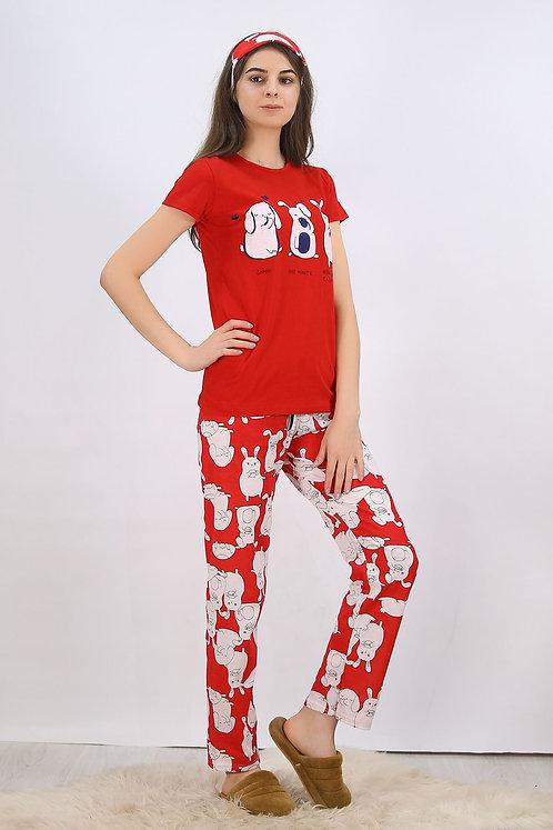 Baskılı Pijama Takımı Kırmızı