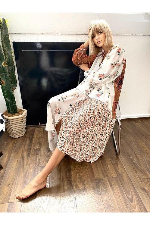 Etnik Ve Çiçek Desen Krep Elbise