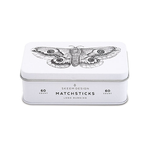 Moth Match Tin with 60 Wooden Mathes