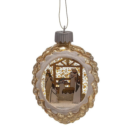 Glass LED Ornament with Nativity Scene