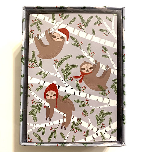 Holiday Greeting Cards Box Set - Merry Sloths