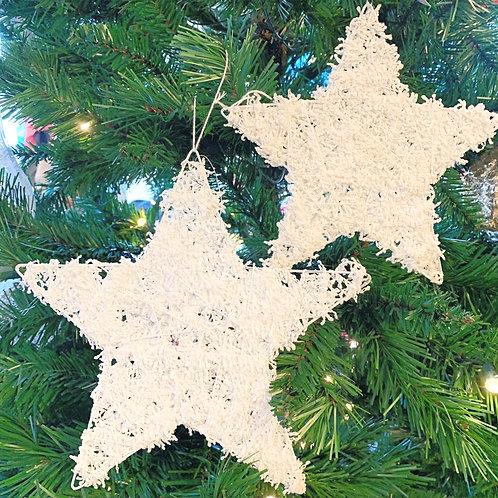 White Glitter String Stars