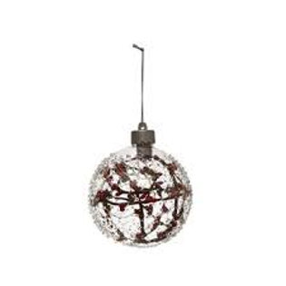 Glass LED Ball Ornament with Faux Berry Branch
