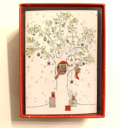 Holiday Greeting Cards Box Set - Festive Owl
