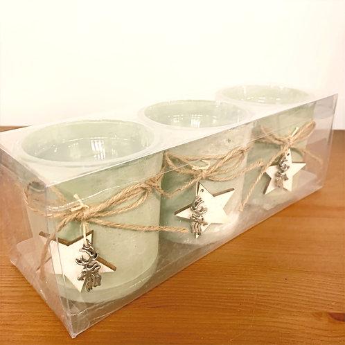 Christmas T-Lite Holder - Sage Green (Set of 3)