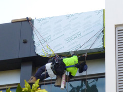Rope access cladding installers