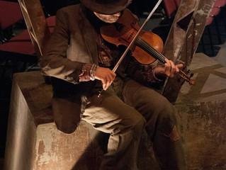 hobo fiddler in Trestle at Pope Lick Creek