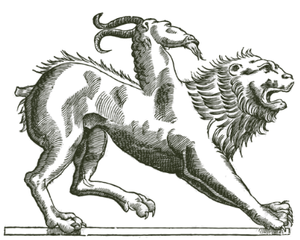 An ancient pen-and-ink illustration of a chimera