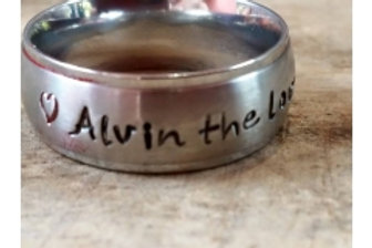 8mm Silver Edged Ring