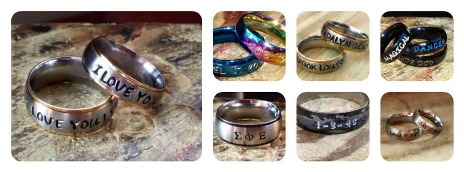 handstamped name rings