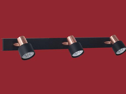 Plafon / Aplique Boa para dicroled 3 luces NEGRO Y COBRE+ LED - RONDA