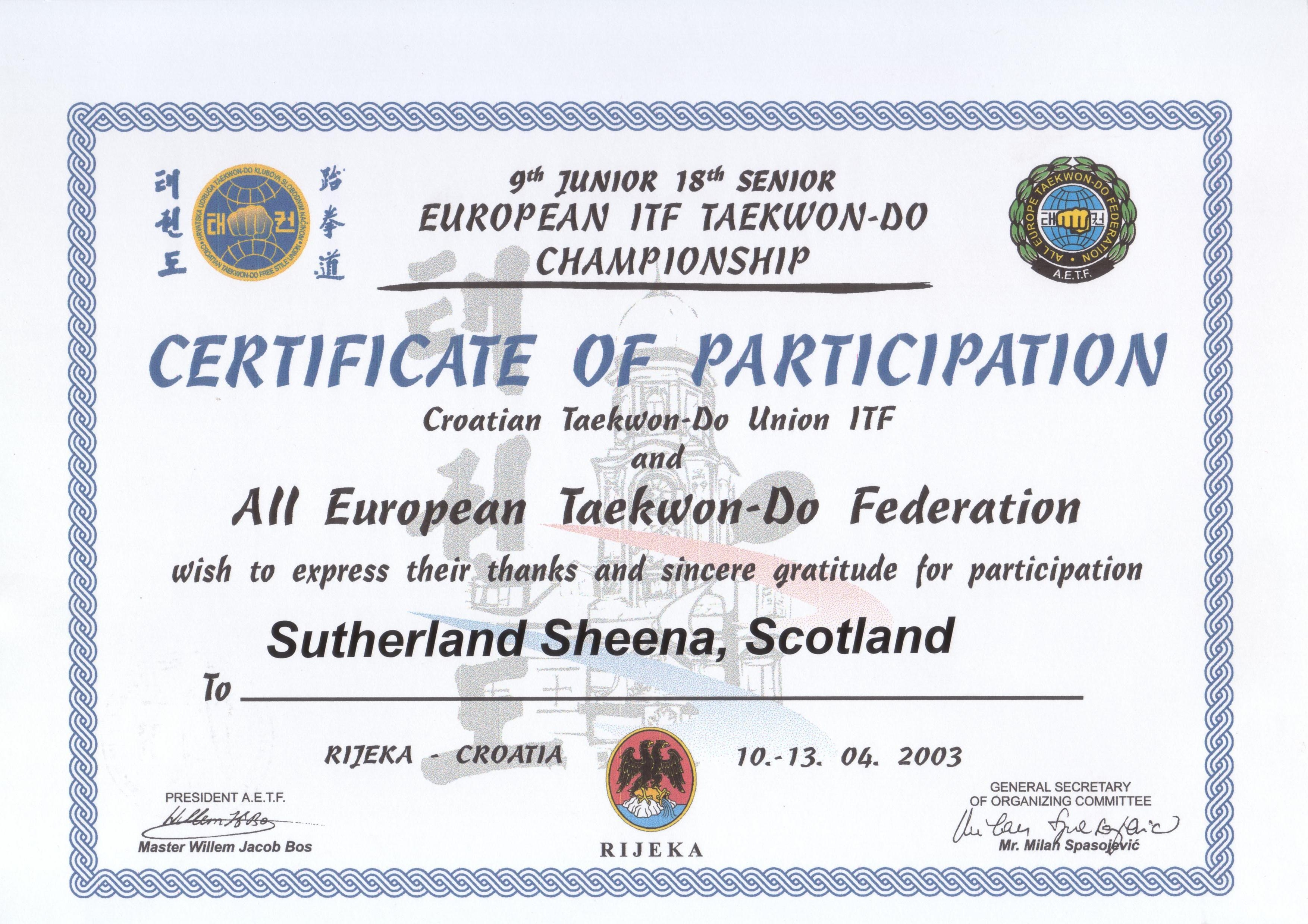 Euro Champ Croatia  2003