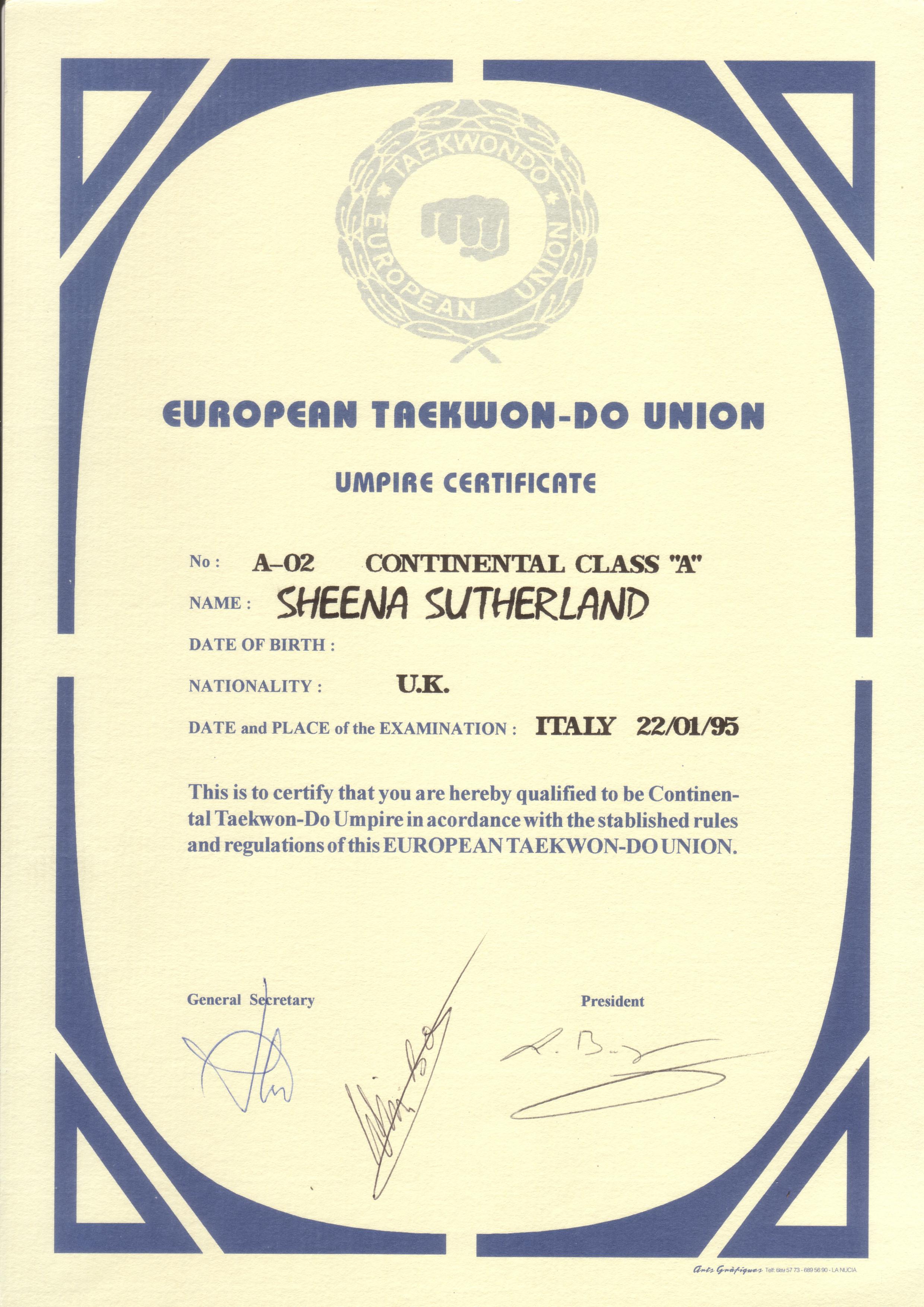 Umpire Cert 1995 Italy