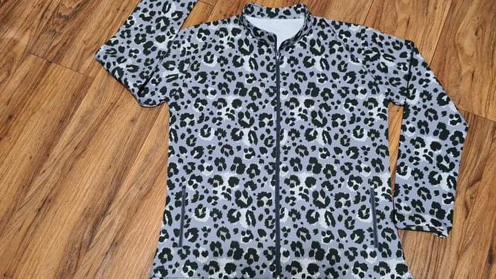 Dames Soft Shell Baadjie (Grys Leopard print)