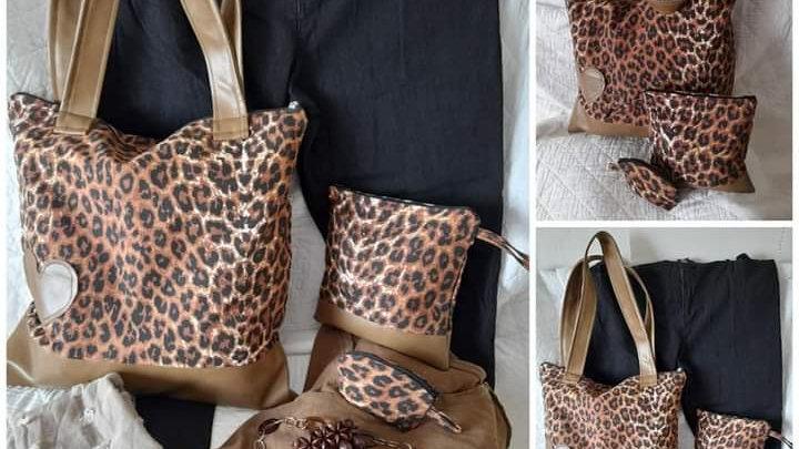 Ligte leopard print handsak stelletjie