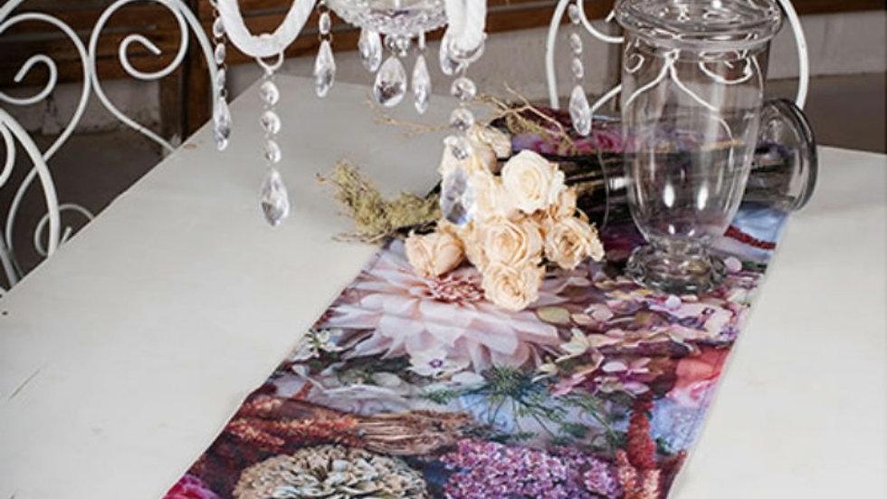 Tafel loper - Pastel Blomme