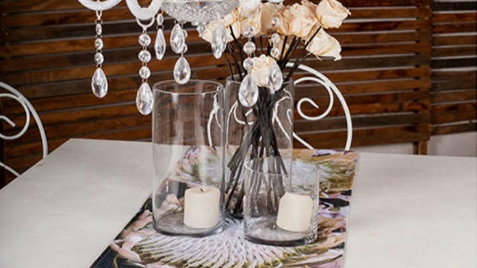 Tafel loper - Wit Protea