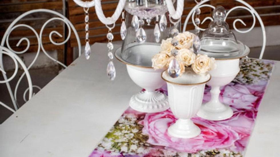 Tafel loper - Pink Blomme