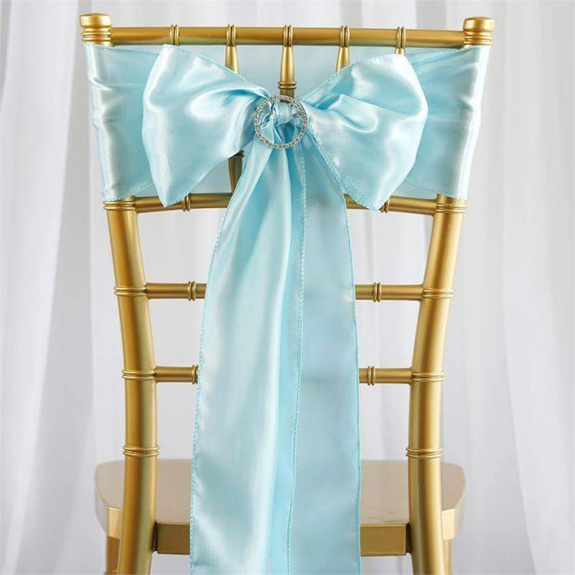 Light Blue Satin Chair Sash