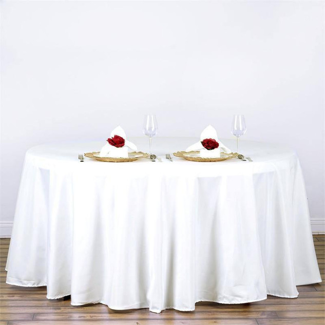 "120"" White Polyester Round Tablecloth"