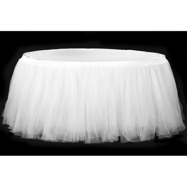 Tulle Tutu 21ft Table Skirt - White