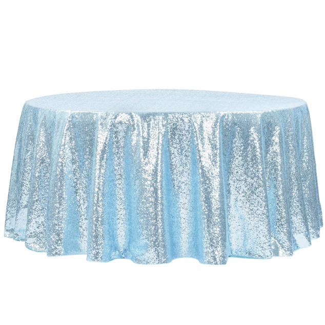 "Glitz Sequins 120"" Round Tablecloth - Baby Blue"