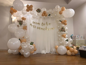 Full Organic Balloon Arch with Curtains: $240