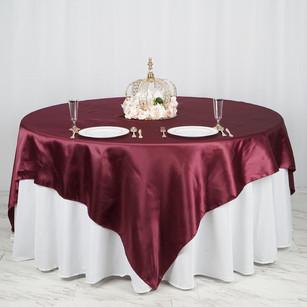 "90"" | Burgundy Satin Overlay | Seamless Square Table Overlays"