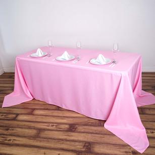 "90x156"" PINK Polyester Rectangular Tablecloth"