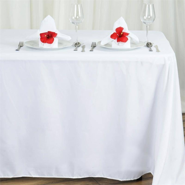 "90x132"" White Polyester Rectangular Tablecloth"