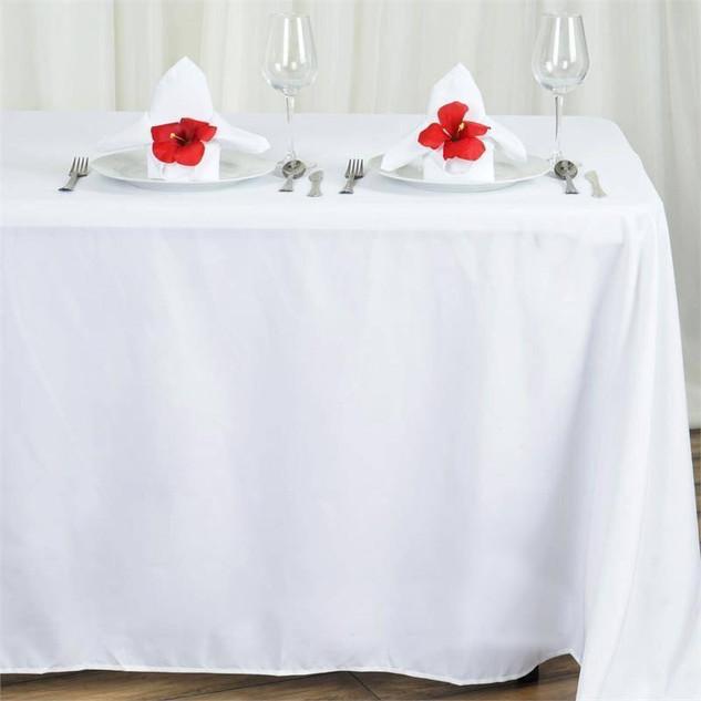 "90x132"" White Polyester Rectangular Tablecloth"