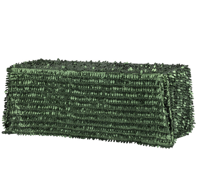 "Leaf Petal Taffeta Tablecloth 90""x156"" Rectangular - Emerald Green"