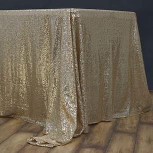 "60""x102"" Champagne Premium Sequin Rectangle Tablecloth"