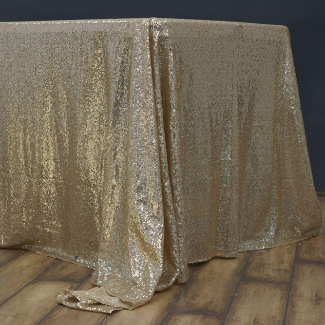"60""x102"" Champagne Premium Sequin Rectangle Tablecloth"