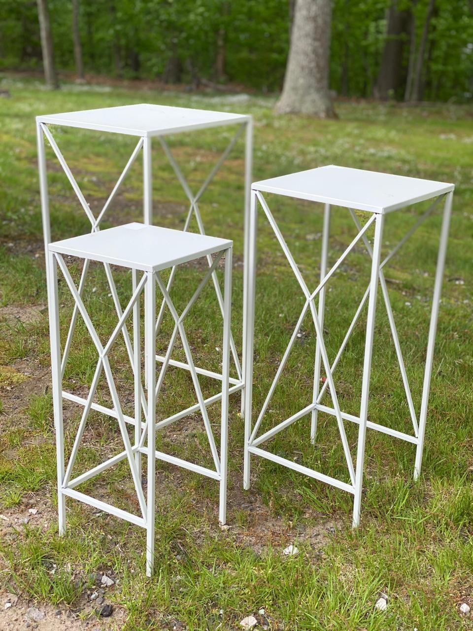 White Trio Square Table