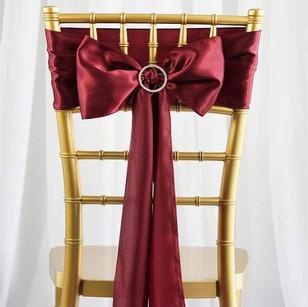 Burgundy Satin Chair Sash
