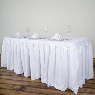 14FT White Pleated Polyester Table Skirt