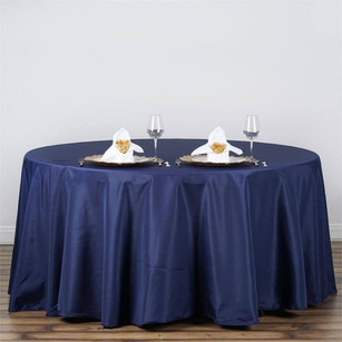 """120"""" Navy Blue Polyester Round Tablecloth"""