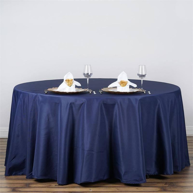 "120"" Navy Blue Polyester Round Tablecloth"