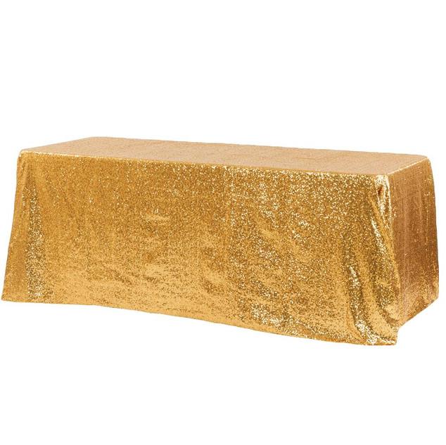 """Glitz Sequin 90""""x156"""" Rectangular Tablecloth - Gold"""