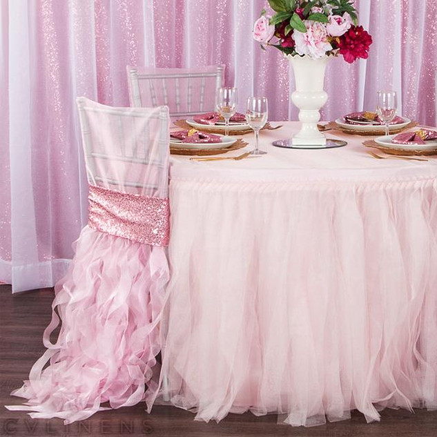 Tulle Tutu 21ft Table Skirt - Pastel Pink