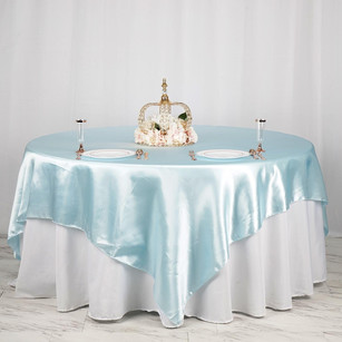 "90"" Light Blue Satin Overlay | Seamless Square Table Overlays"