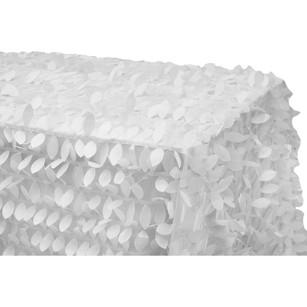 "Leaf Petal Taffeta Tablecloth 90""x156"" Rectangular - White"