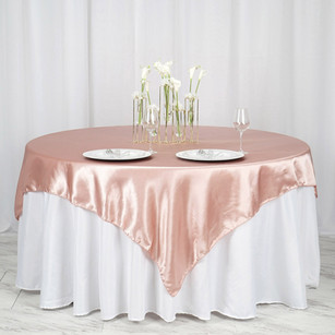 """72"""" x 72"""" Dusty Rose Seamless Satin Square Tablecloth Overlay"""