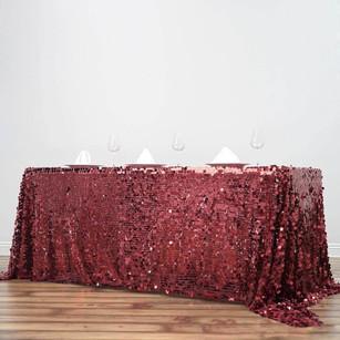 "90x156"" Burgundy Big Payette Sequin Rectangle Tablecloth Premium"